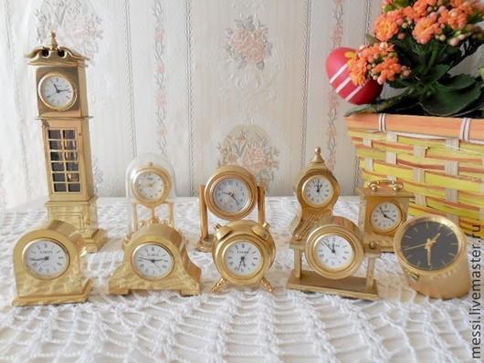Винтажные предметы интерьера. Ярмарка Мастеров - ручная работа. Купить Коллекция мини настольных часов, латунь, кварц, винтаж. Handmade.