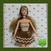 Куклы и игрушки ручной работы. Ярмарка Мастеров - ручная работа Платье Кофе с молоком на Барби. Handmade.