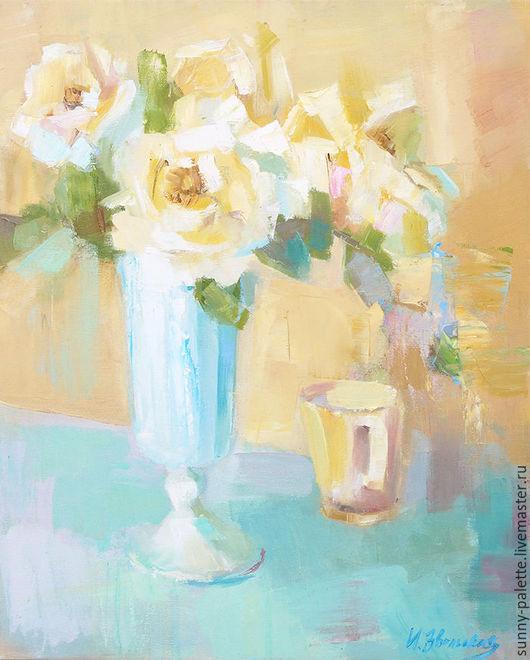 Картины цветов ручной работы. Ярмарка Мастеров - ручная работа. Купить Букет из чайных роз.40х50 Живопись. Handmade. Желтый