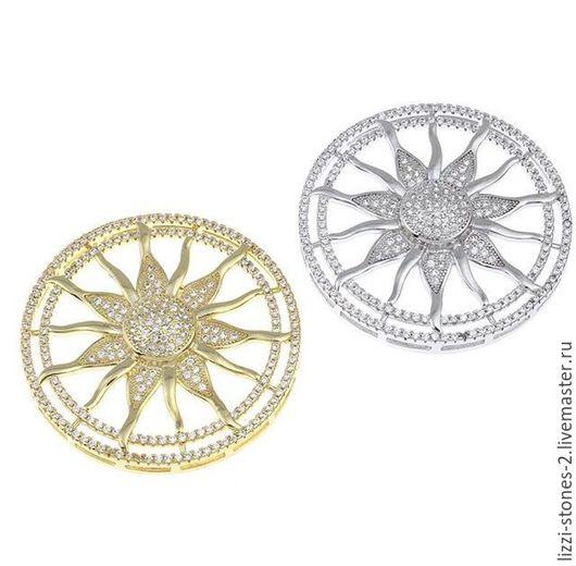 Коннектор Солнце 38 мм серебро и золото (Milano) Евгения (Lizzi-stones-2)