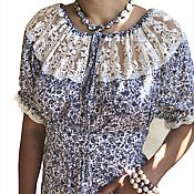 Одежда handmade. Livemaster - original item The cotton dress is Cute with grey flowers and lace. Handmade.