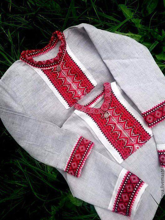 Рубашка для мальчиков № 1 .Сшита из небеленого  льна  и узорной ткани. Хороший вариант для весны, лета.Можно использовать для фото сессий в славянском стиле.Размеры от года и старше.