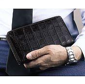 Сумки и аксессуары handmade. Livemaster - original item Cosmetic bag with crocodile leather zipper, brown. Handmade.