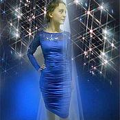 Одежда ручной работы. Ярмарка Мастеров - ручная работа ..Синий блеск..Платье коктейльное. Handmade.