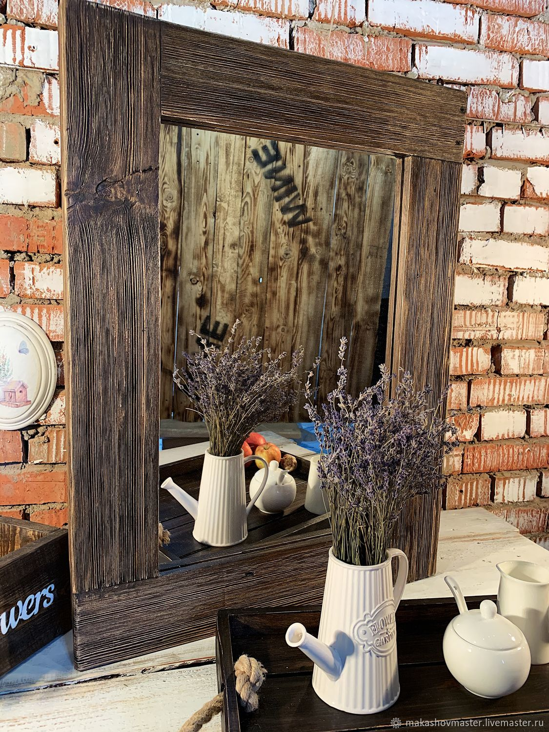 Mirror in a frame made of barn boards, Mirror, Moscow,  Фото №1