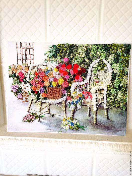 """Картины цветов ручной работы. Ярмарка Мастеров - ручная работа. Купить Картина вышитая лентами """"Сад чайных роз"""". Handmade."""
