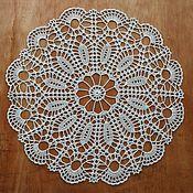Для дома и интерьера ручной работы. Ярмарка Мастеров - ручная работа Светло-серая салфетка крючком. Handmade.