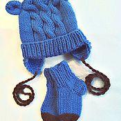 Работы для детей, ручной работы. Ярмарка Мастеров - ручная работа Комплект шапочка + носочки Лагуна. Handmade.