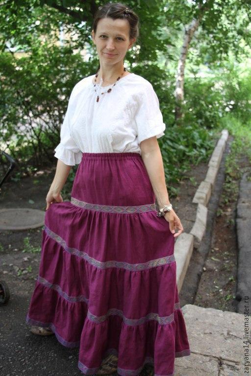 Юбки ручной работы. Ярмарка Мастеров - ручная работа. Купить Ярусная юбка с тесьмой Орепей. Handmade. Сиреневый, ярусная юбка