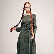 """Платья ручной работы. Ярмарка Мастеров - ручная работа Льняное платье """"Красота простых линий"""" (зелёный дымчатый). Handmade."""