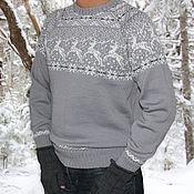 Одежда ручной работы. Ярмарка Мастеров - ручная работа Новогодний свитер с оленями мужской серый. Handmade.