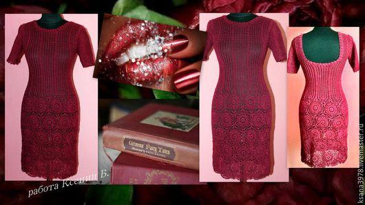 Платья ручной работы. Ярмарка Мастеров - ручная работа. Купить вязаное платье. Handmade. Бордовый, сарафан крючком, красота, рукоделие