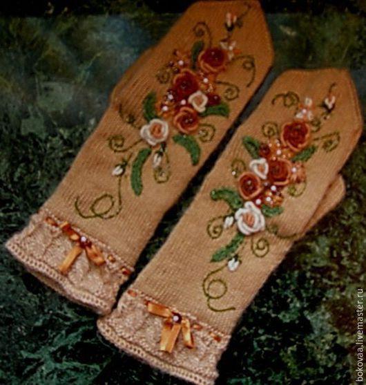 """Варежки, митенки, перчатки ручной работы. Ярмарка Мастеров - ручная работа. Купить Варежки """"Утренний сад"""". Handmade. Бежевый, жемчуг"""