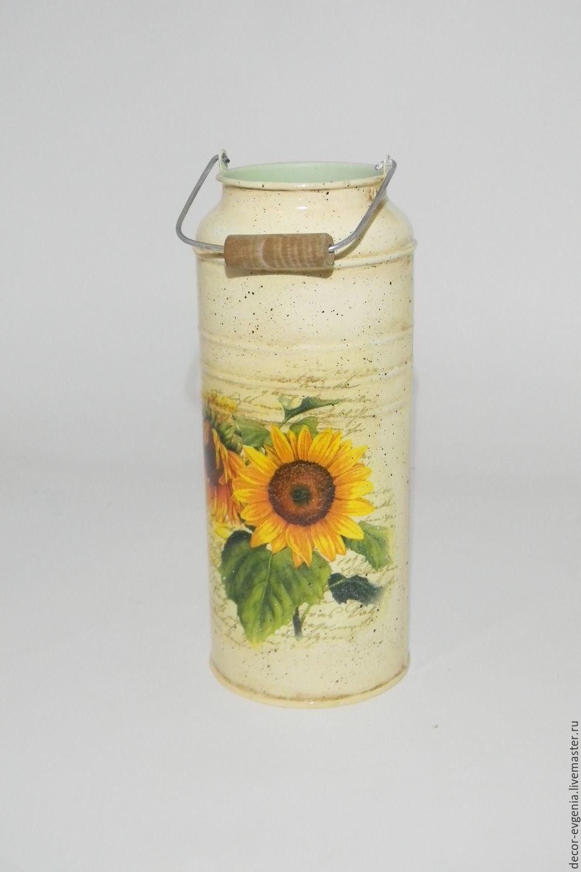 Decoupage Milk Can, Sunflower, Vase, Milk Churn – shop online on ...