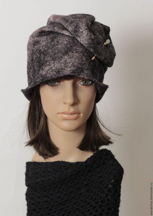 """Шапки ручной работы. Ярмарка Мастеров - ручная работа. Купить Валяная шапочка """"500 образов"""". Handmade. Черный, шапка из войлока"""