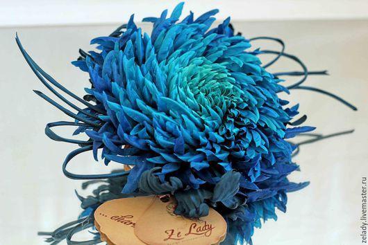 """Цветы ручной работы. Ярмарка Мастеров - ручная работа. Купить Хризантема из шелка """"Изумрудная гавань"""". Handmade. Бирюзовый, повязка на руку"""