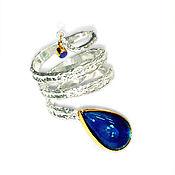 """Украшения ручной работы. Ярмарка Мастеров - ручная работа Кольцо """"Спиральное"""" с опалом, синий опал, золото, золотое. Handmade."""