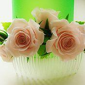 """Украшения ручной работы. Ярмарка Мастеров - ручная работа Гребень с цветами """"Нежные розы"""". Handmade."""