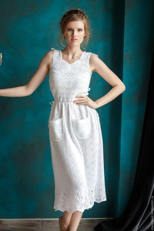 """Платья ручной работы. Ярмарка Мастеров - ручная работа. Купить Платье """"Скоро в отпуск"""". Handmade. Белый, сшить платье"""
