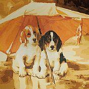 Картины и панно handmade. Livemaster - original item Pictures: Dogs under an umbrella. Handmade.