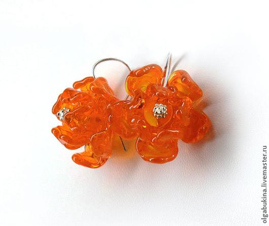 Серьги ручной работы. Ярмарка Мастеров - ручная работа. Купить Оранжевые серьги Цветы мандарина. Лампворк, стекло, рыжий. Handmade.