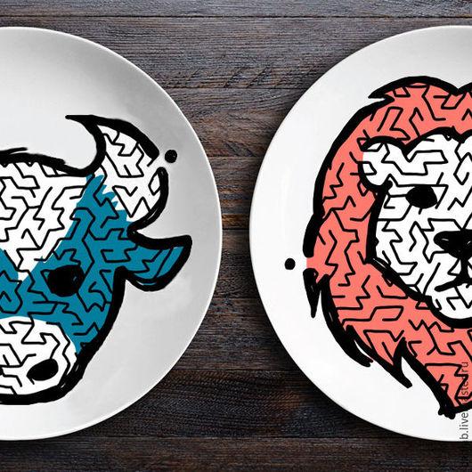 Кухня ручной работы. Ярмарка Мастеров - ручная работа. Купить Набор тарелок лабиринтов ЗооЛаб (бык/лев). Handmade. Белый, лабиринт