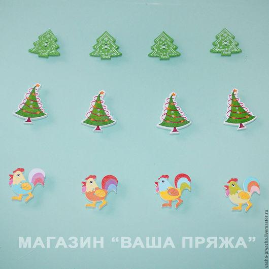 Шитье ручной работы. Ярмарка Мастеров - ручная работа. Купить Деревянные пуговицы Новый год (пуговицы деревянные). Handmade. Комбинированный