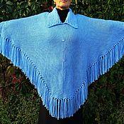 Одежда ручной работы. Ярмарка Мастеров - ручная работа Пончо вязаное голубого цвета с рукавами. Handmade.