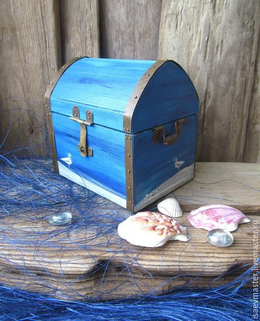 """Шкатулки ручной работы. Ярмарка Мастеров - ручная работа. Купить Шкатулка """"Берег моря"""". Handmade. Синий, шкатулка для мелочей, чайка"""
