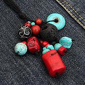 Украшения ручной работы. Ярмарка Мастеров - ручная работа Коралловая подвеска на льняных нитях кораллы лен красный черный бирюза. Handmade.