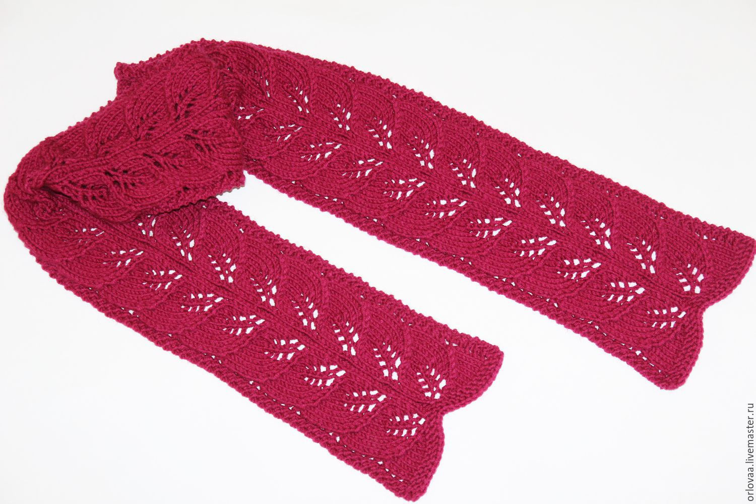 Knitted scarf with pattern of leaves 'ruby', Scarves, Moscow, Фото №1