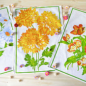 Для дома и интерьера handmade. Livemaster - original item Three waffle towels Spring flowers. Handmade.