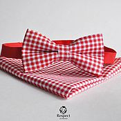 Аксессуары handmade. Livemaster - original item Red tie plaid pocket square red Vichy. Handmade.