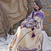 Одежда ручной работы. Ярмарка Мастеров - ручная работа Бежевое Вышитое платье. Льняное платье с длинным рукавом. Бохо платье. Handmade.