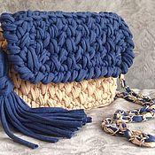 Классическая сумка ручной работы. Ярмарка Мастеров - ручная работа Сумочка кросс-боди из трикотажной пряжи. Handmade.