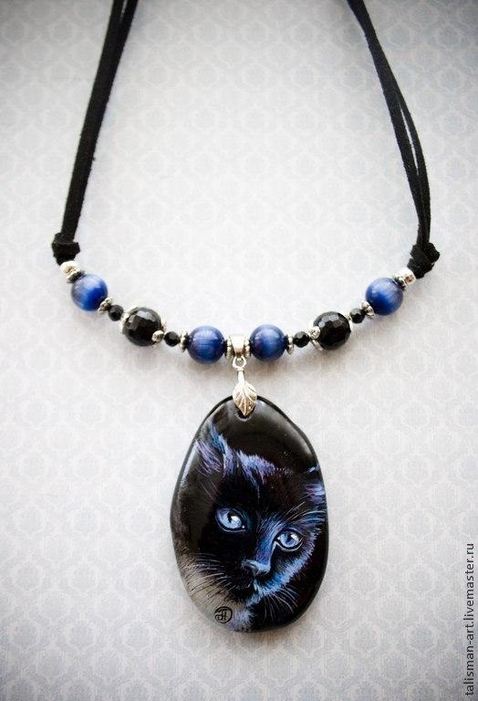 """Кулоны, подвески ручной работы. Ярмарка Мастеров - ручная работа. Купить Кулон """"Чёрный кот"""", роспись на камне. Агат. Handmade."""