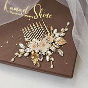 Свадебный салон handmade. Livemaster - original item Wedding beige comb with flowers in gold for the bride`s hairstyle. Handmade.