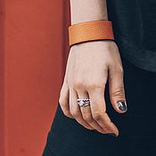 Украшения handmade. Livemaster - original item Wide red leather bracelet with cast stainless steel locks. Handmade.