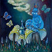 Картины и панно ручной работы. Ярмарка Мастеров - ручная работа Гусеница курящая кальян, Алиса в стране чудес. Handmade.