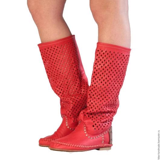 Обувь ручной работы. Ярмарка Мастеров - ручная работа. Купить Летние кожанные сапоги ROMBO /красные/ 38 в наличие. Handmade.