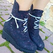 Обувь ручной работы. Ярмарка Мастеров - ручная работа Сапожки демисезонные черные на платформе  Кошка. Handmade.