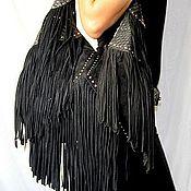 Сумки и аксессуары handmade. Livemaster - original item Large shoulder bag made from Python and suede Fringe black. Handmade.