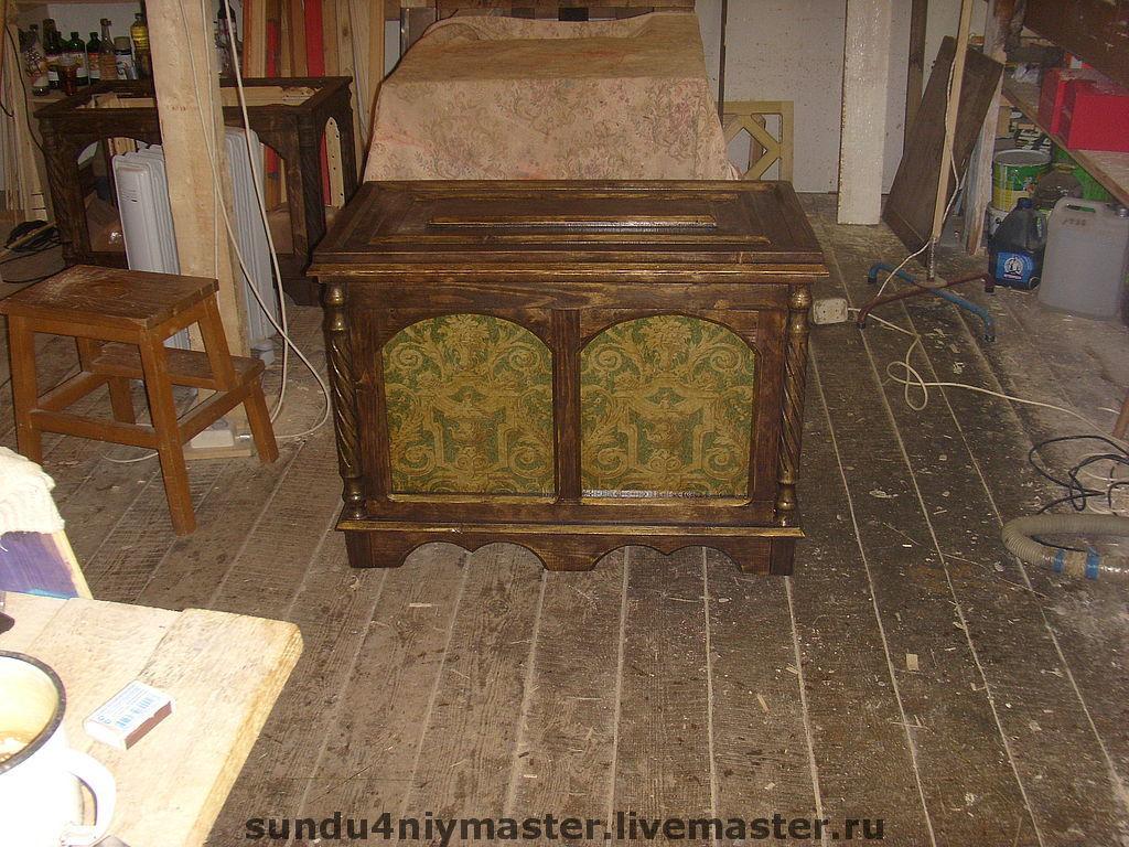Шкатулки ручной работы. Ярмарка Мастеров - ручная работа. Купить Мебель под старину. Handmade. Сундук для денег, массив сосны