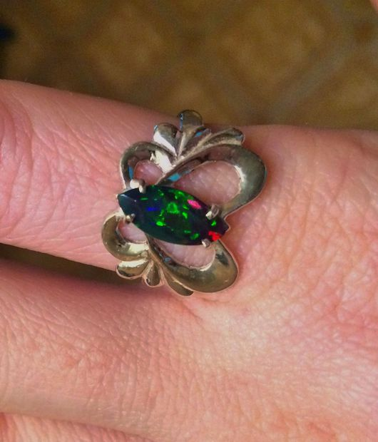 """Кольца ручной работы. Ярмарка Мастеров - ручная работа. Купить """" Бархатная ночь"""" кольцо с черным опалом Эфиопии. Handmade."""