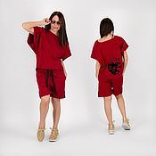 handmade. Livemaster - original item Dark Red Sports Set of Top and Wide Shorts-SE0907W2. Handmade.
