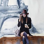 Картины и панно handmade. Livemaster - original item Watercolor painting Paris Girl (grey brown). Handmade.
