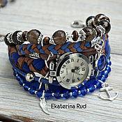 Watches handmade. Livemaster - original item Boho watch, stylish blue with rauchtopaz