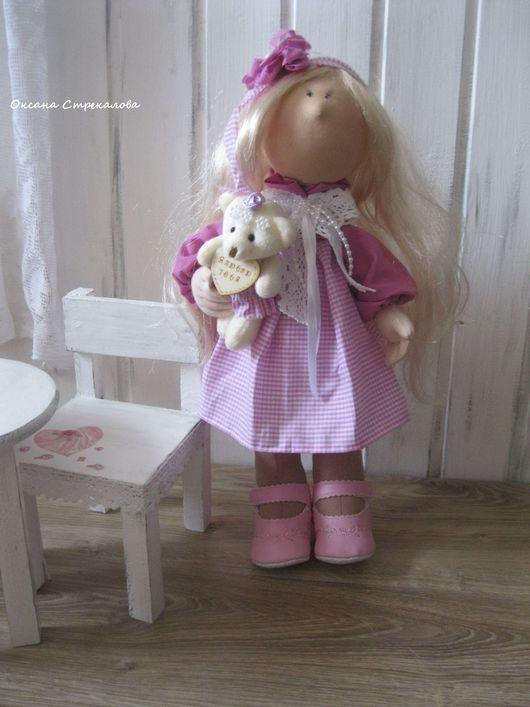 """Коллекционные куклы ручной работы. Ярмарка Мастеров - ручная работа. Купить Текстильная интерьерная кукла """" Малышка в розовом"""". Handmade."""