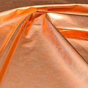 Материалы для творчества handmade. Livemaster - original item Genuine leather Orange metallic 0,7 mm. Handmade.