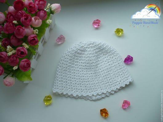 Для новорожденных, ручной работы. Ярмарка Мастеров - ручная работа. Купить Ажурная шапочка для новорожденной девочки. Handmade. Белый